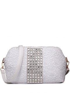 Lace Rhinestones Embossing Shoulder Bag - Silver