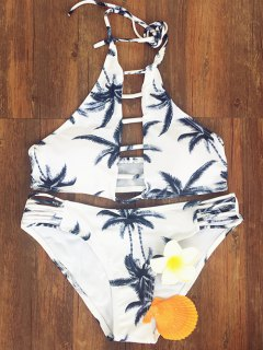 Coconut Palm Printed Halter Bikini Set - M