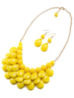 Beads Water Drop Necklace And Earrings - Yellow