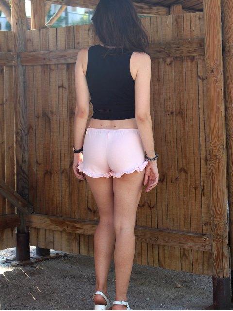 online Pure Color Trimming Elastic Waist Shorts -   Mobile