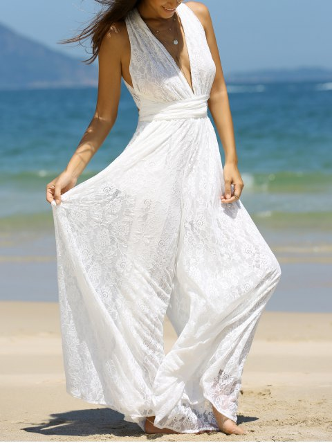buy Backless Plunging Neck Jumpsuit - WHITE L Mobile