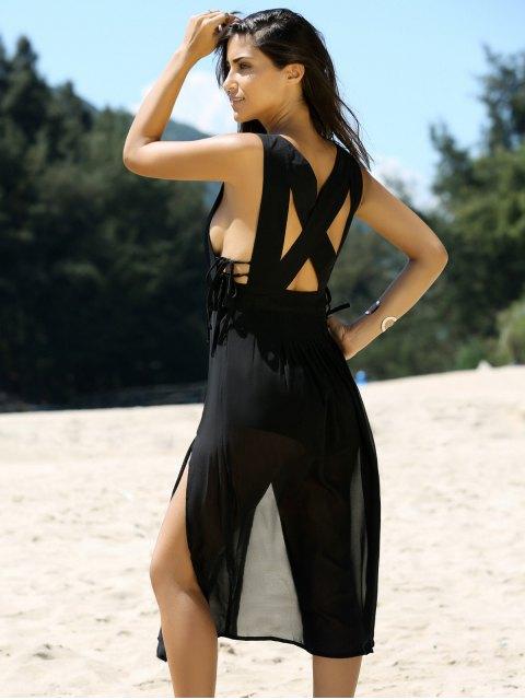 buy Cross Back V Neck Cutout Front Slit Dress - BLACK L Mobile