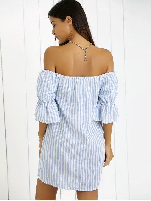 ladies Striped Fringe Off The Shoulder Mini Dress - BLUE S Mobile