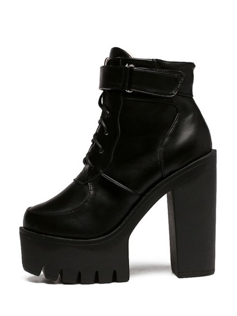 womens Chunky Heel Lace-Up Platform Short Boots - BLACK 37 Mobile