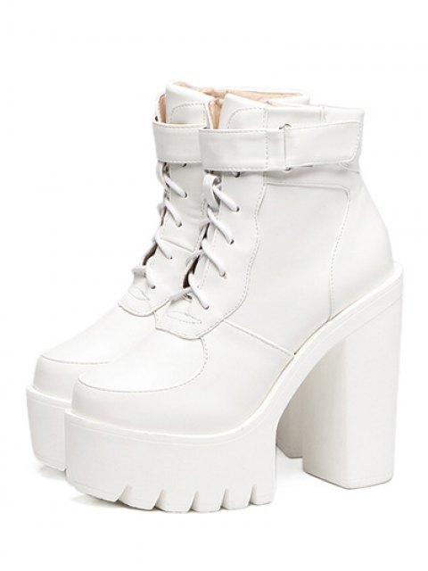 lady Chunky Heel Lace-Up Platform Short Boots - WHITE 38 Mobile