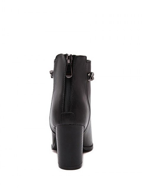 lady Black Chain Pointed Toe Short Boots - BLACK 37 Mobile