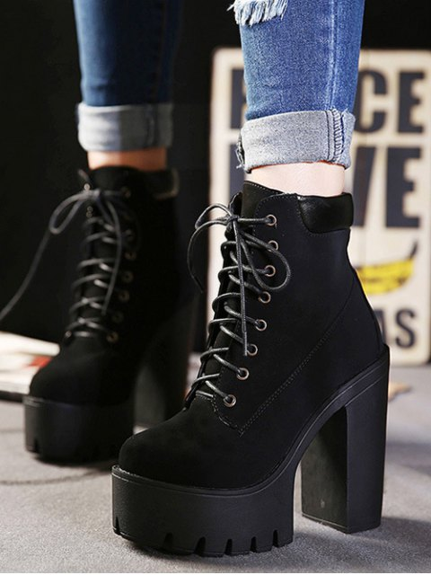 outfits Lace-Up Black Round Toe Short Boots - BLACK 37 Mobile
