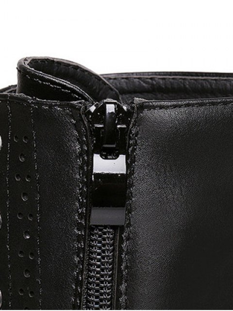 trendy Zipper Black Lace-Up Short Boots - BLACK 38 Mobile