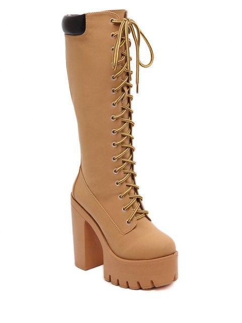 chic Tie Up Platform Zipper Mid-Calf Boots - LIGHT BROWN 37 Mobile