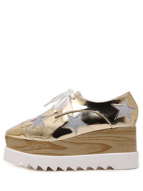 ladies Square Toe Star Pattern Sequined Wedge Shoes - GOLDEN 39 Mobile