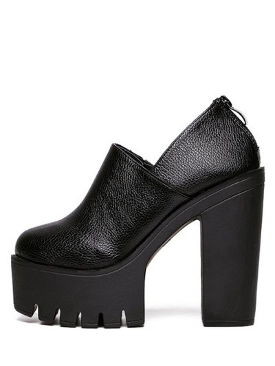 Zipper Platform Chunky Heel Pumps - BLACK 38 Mobile
