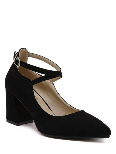 Cross Straps Pointed Toe Flock Pumps - BLACK 39 Mobile