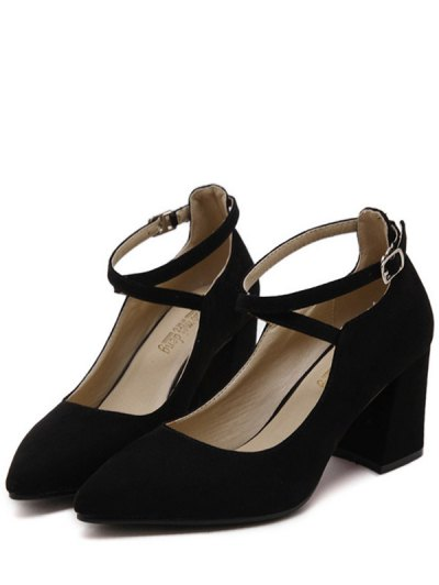 Cross Straps Pointed Toe Flock Pumps - BLACK 38 Mobile