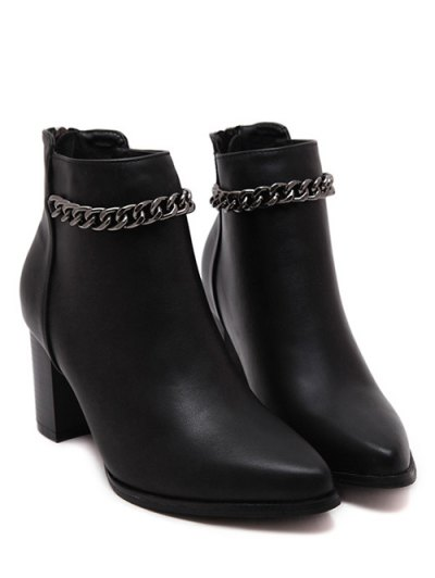 Black Chain Pointed Toe Short Boots - BLACK 39 Mobile