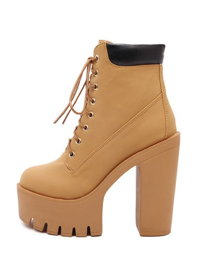 Chunky Heel Tie Up Platform Short Boots - LIGHT BROWN 39 Mobile