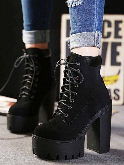 Lace-Up Black Round Toe Short Boots - BLACK 38 Mobile