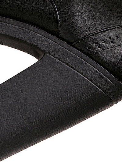 Zipper Black Lace-Up Short Boots - BLACK 38 Mobile