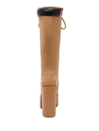 Tie Up Platform Zipper Mid-Calf Boots - LIGHT BROWN 37 Mobile