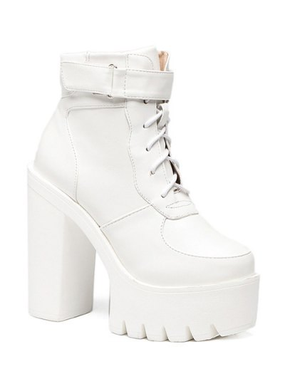 Chunky Heel Lace-Up Platform Short Boots - WHITE 37 Mobile