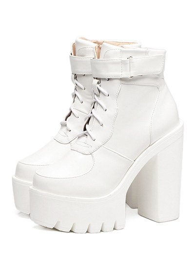 Chunky Heel Lace-Up Platform Short Boots - WHITE 38 Mobile