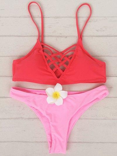 Lace Up Cami Bikini Set - Red And Pink