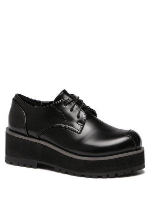 Black Stitching Round Toe Wedge Shoes - Black