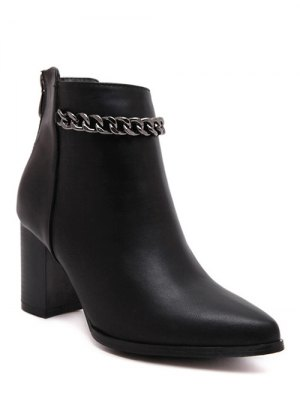Black Chain Pointed Toe Short Boots - Black
