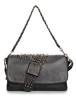 Black Metal Rivets Chain Shoulder Bag - Black