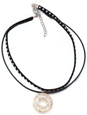 Faux Suede Layered Rivet Circle Choker - Black
