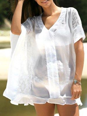 Lace Splice Half Sleeve Chiffon Shift Dress - White