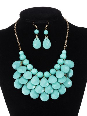 Beads Water Drop Necklace And Earrings - Mint Green
