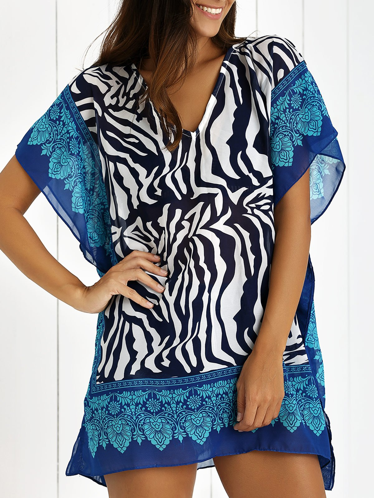 V Neck Zebra Print Cover Up Dress