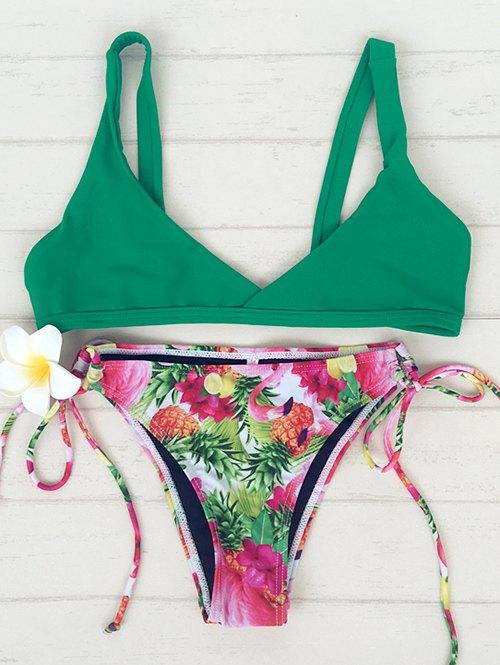 Spaghetti Strap Pineapple Print Bikini Set