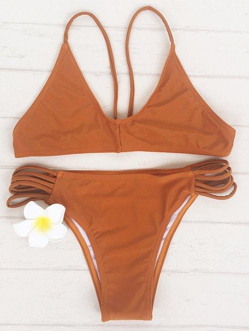 Spaghetti Strap Brown Bikini Set