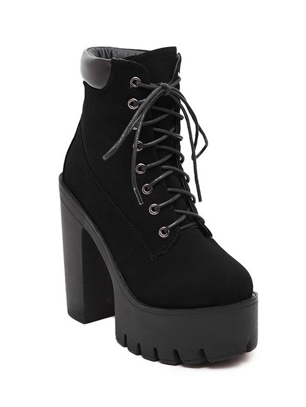 Lace-Up Design Short Boots For Women