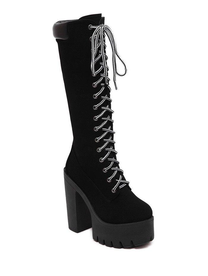 Black Design Mid-Calf Boots For Women