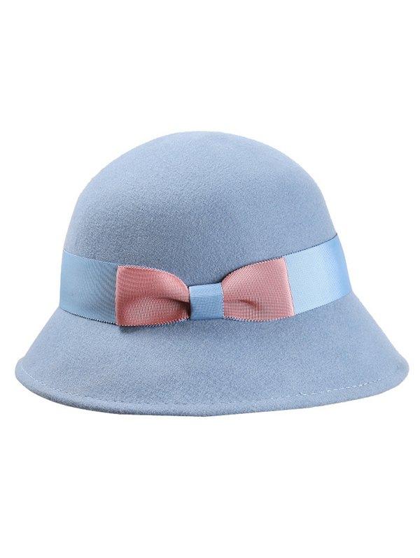 Bowknot Wool Bucket Hat - LIGHT BLUE