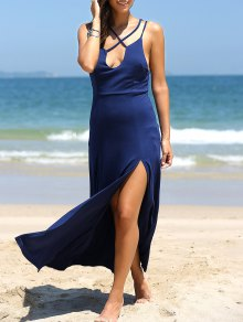 High Slit Front Crossed Plunging Neck Maxi Dress - Deep Blue S