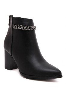 Black Chain Pointed Toe Short Boots - Black 37