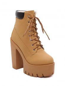 Chunky Heel Tie Up Platform Short Boots - Light Brown