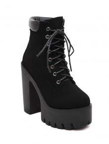Lace-Up Black Round Toe Short Boots - Black