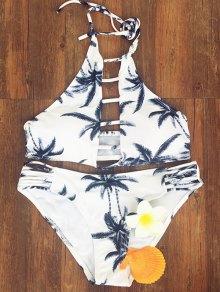 Coconut Palm Printed Halter Bikini Set