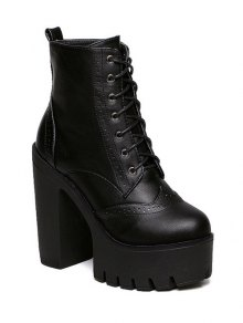 Zipper Black Lace-Up Short Boots - Black