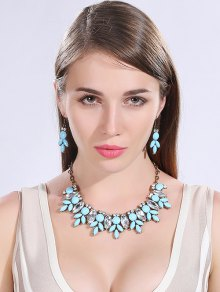 Buy Faux Crystal Resin Necklace Earrings LAKE BLUE