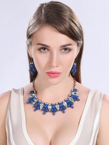 Buy Faux Crystal Resin Necklace Earrings DEEP BLUE