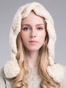 Ball Embellished Knitted Hat - OFF WHITE