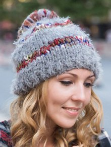 Ball Decorated Winter Knitted Hat - GRAY