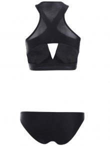 Solid Color Crossed Sexy Bikini Set - BLACK S
