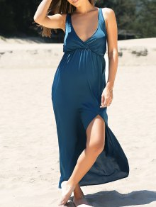 High Slit Solid Color Plunging Neck Maxi Dress