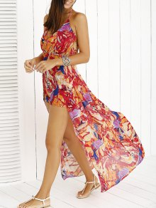 Printed Halter Backless Maxi Dress